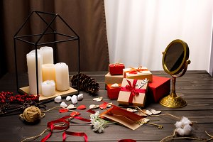 Gift boxes and candles