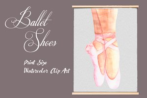 Watercolor Ballet Shoes - Clip Art