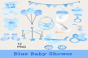 Blue Baby Shower Clip Art