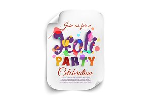 Holi party poster template on white background.