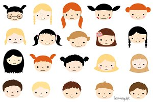 Cute kid faces clipart set