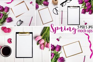 Set of 5 mock-ups with tulips