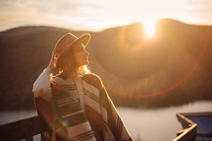 Young girl enjoying sunset