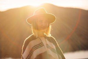 Traveler looking sunset