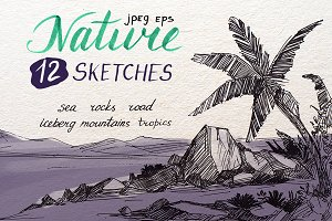 Nature. 12 ink sketches