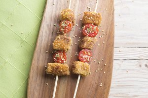 Skewer vegan (tomato and tofu)