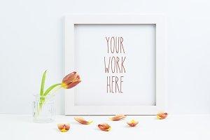 Tulip & white square frame mockup