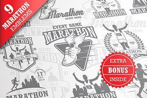 Set of vintage marathon emblems