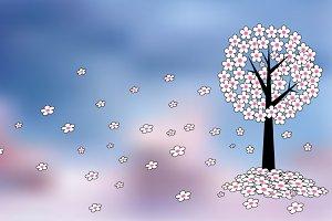 Spring tree flowers vector