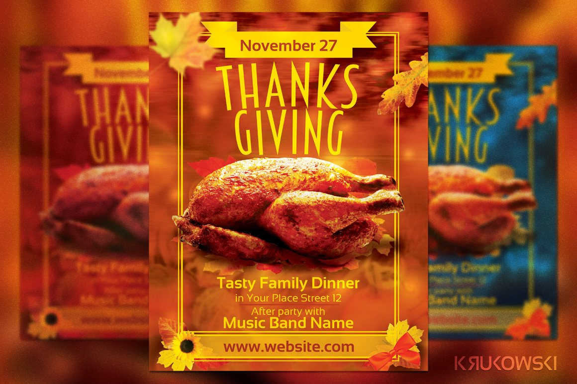 thanks giving dinner party flyer flyer templates creative market