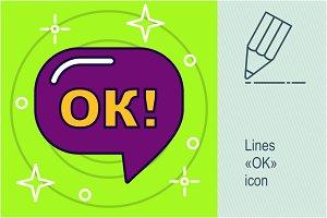 """Lines """"ok"""" icon"""