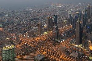 Dubai downtown after sunset