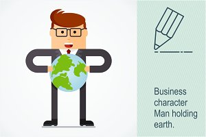 Successful businessman with earth