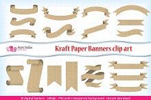 Kraft paper banners clipart