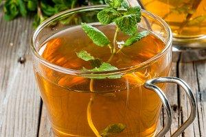 Mint tea on rustic table