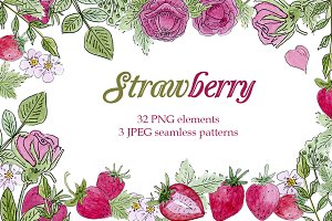 Strawberry floral watercolor set
