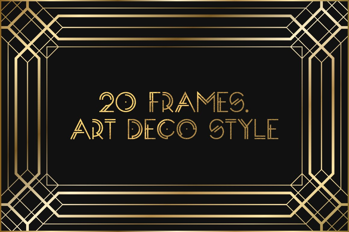 art deco frames graphic objects creative market. Black Bedroom Furniture Sets. Home Design Ideas