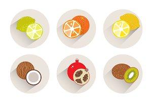 Fruit icon set. Vector flat design.