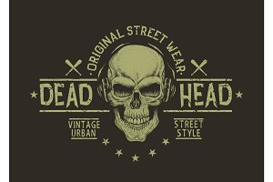 Street style label of skull.Prints design