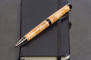 Notebook or diary with pen