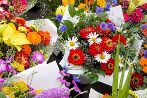 Display of flower bouquets