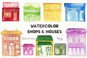 Shops & houses.watercolor clipart