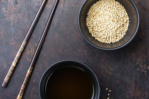 Sesame oil and seeds for healthy eating chinese japanese