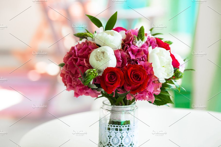 Wedding Bouquet Roses And Peonies In Glass Vase On Table Nature