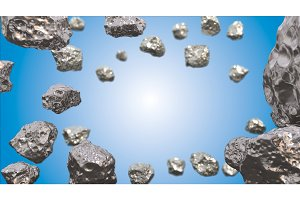 Abstract background in the space with silver asteroids. Copyspace empthy area. Can be used as a decorative greeting grungy or postcard framing for your design or text . 3d illustration
