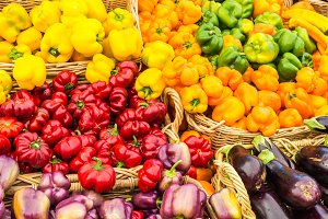 Peppers displayed at market
