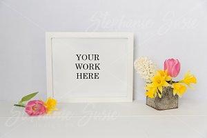 White Frame Daffodil Tulip Mock Up