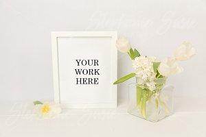 White Frame & Florals Styled Mock
