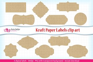Kraft Paper Labels clipart