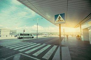 Pedestrian crossing near airport