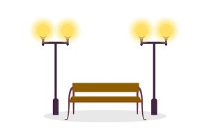 Wooden Standard Bench and Two Street Lamp Isolated