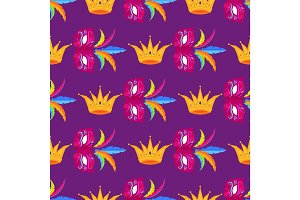 Mardi Gras Festival Mask and Crow Wrapping Paper