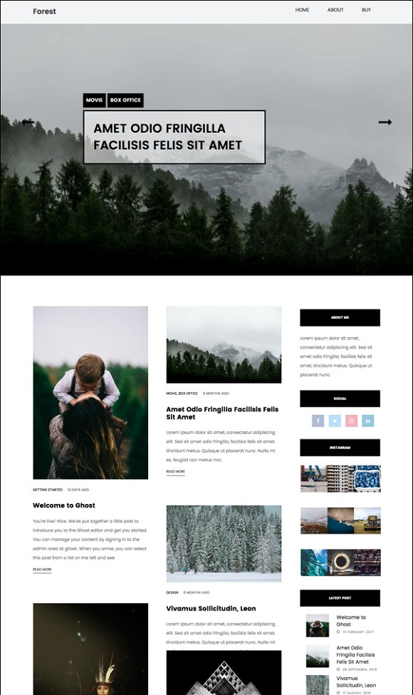 Forest Blog Ghost Theme
