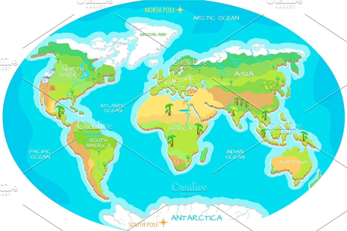 Continents, Oceans on Map of World. Our Planet. ~ Illustrations ...