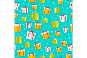 Wrapped Gifts Seamless Patterns Vector