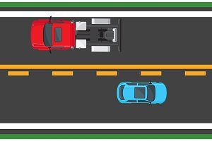 Blue Hatchback and Red Auto Driving on Highway