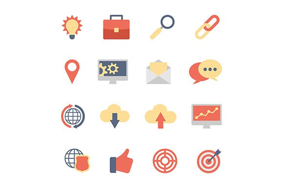 SEO and Development flat icons