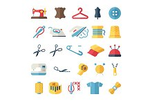 sewing flat icons