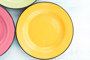 Pastel Color ceramic food plates top view background