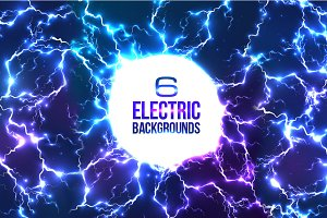 6 lightnings backgrounds (eps+jpg)