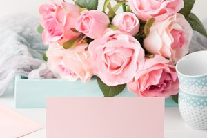 Blank paper pink card Valentine's day and roses invitation