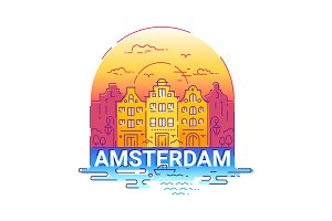 Amserdam - modern vector line arch illustration