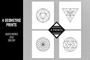 4 Geometric Prints Set
