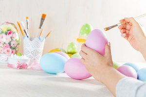 Easter egg painting in a workshop