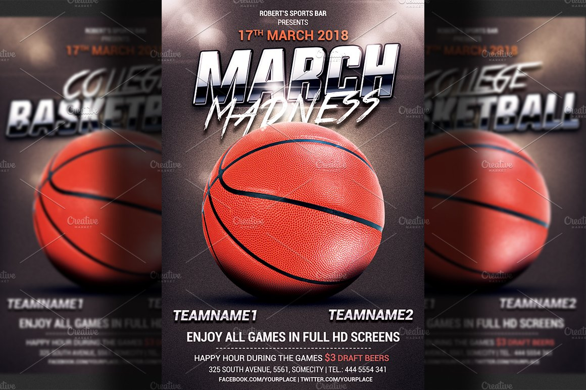 Basketball flyer template flyer templates creative market for Basketball flyer template free