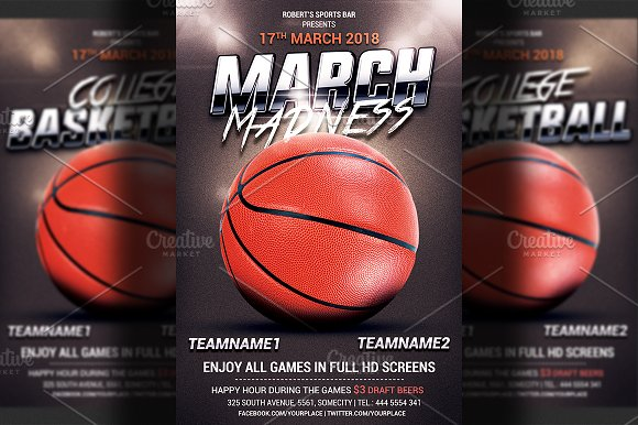 basketball flyer template flyer templates creative market. Black Bedroom Furniture Sets. Home Design Ideas